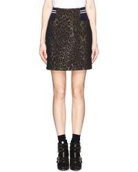Sandro Elastic Side Leopard Print Skirt - Lyst