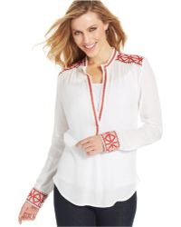 Karen Kane Embroidered Long-sleeve Tunic - Lyst