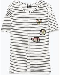Zara Striped T-Shirt With Patches - Lyst