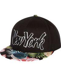 River Island Black New York Floral Flatpeak Hat - Lyst