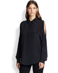 DKNY Silk Cold-Shoulder Blouse - Lyst