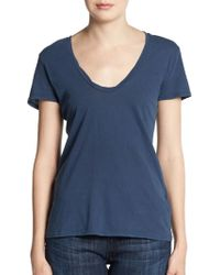 James Perse Cotton Tee blue - Lyst