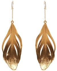 Aurelie Bidermann Plume Yellow-Gold Earrings yellow - Lyst