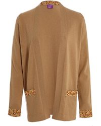 Liberty - Taupe Liberty Print Pocket Cashmere Cardigan - Lyst