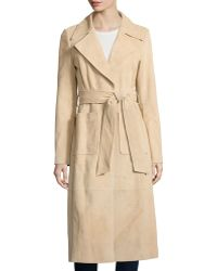 Bagatelle - Long Suede Belted Trench Jacket - Lyst