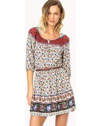 Forever 21 Sweet Floral Peasant Dress W/ Belt - Lyst