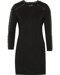Balmain Leather-Trimmed Stretch-Cady Mini Dress - Lyst