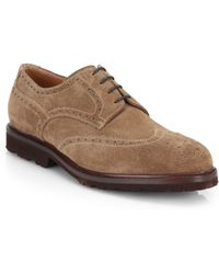 Brunello Cucinelli Suede Wingtip Shoes - Lyst