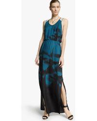 Halston Printed Georgette Maxi Dress - Lyst