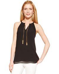 Calvin Klein Sleeveless Chain-Link Halter Top black - Lyst