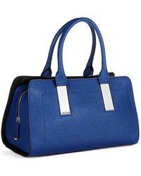Calvin Klein Blue Leather Satchel - Lyst