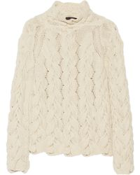 The Row Leander Cable-Knit Cashmere And Silk-Blend Sweater - Lyst