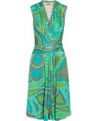 Issa Wrap-Effect Printed Silk-Jersey Dress - Lyst