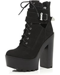 River Island Black Lace Up Platform Boots - Lyst