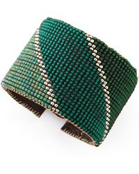 Love Heals - Beaded Leather Cuff - Lyst