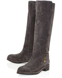 Tod's Charcoal Gomma Stud Suede Knee Boots - Lyst