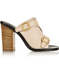 Chloé Buckled Leather Mules - Lyst