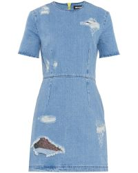 House of Holland Distressed Denim Dress - Lyst