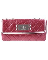 Chanel | Pre-owned: Reissue East West Red Lambskin Leather Flap Bag | Lyst