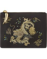 Giuseppe Zanotti Dragon Embroidered Leather Pouch Black - Lyst