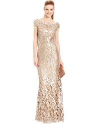Adrianna Papell Sequin-Embellished Metallic Gown - Lyst