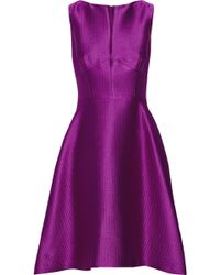 Lela Rose Embossed Satin-Twill Dress - Lyst