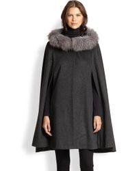 Sofia Cashmere Fox Fur-Trimmed Cashmere Cape - Lyst