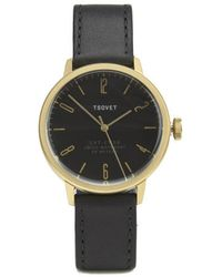 Tsovet - Black And Gold Dial With Black Leather Strap Svt-Cn38 Watch - Lyst
