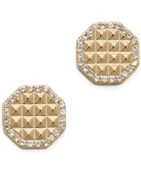 Elizabeth and James - Bauhaus Pave Pyramid Stud Earrings - Lyst