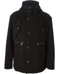 DSquared2 Black Duffle Coat - Lyst