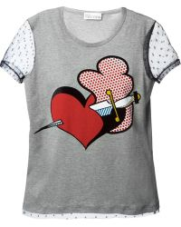 RED Valentino Sheer Sleeve Heart Print Tshirt - Lyst