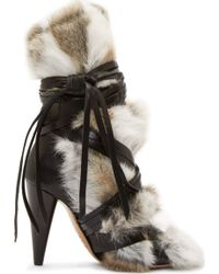 Isabel Marant Black Leather and Fur Pietra Boots - Lyst