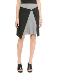 Tibi Wrap Over Pleated Skirt  Black - Lyst