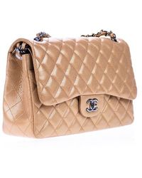 Chanel | Pre-owned: Metallic Caviar Copper Leather Jumbo Double Flap Bag | Lyst