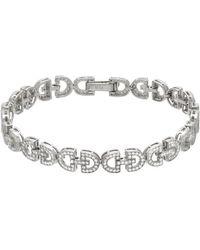 Pori - 18k White Gold Plated Sterling Silver Interlocked D- Shape Cz Bracelet - Lyst