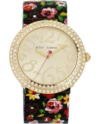 Betsey Johnson - Crystallized Goldtone Watch with Floral Print Bracelet - Lyst