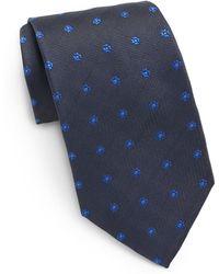 Saint Laurent Floral Embroidered Silk Tie - Lyst