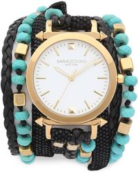 Sara Designs - Turquoise Beaded Wrap Watch - Turquoise/black/gold - Lyst