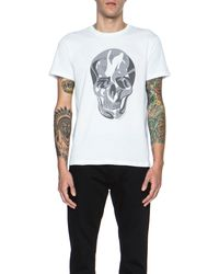 Alexander McQueen Mens Prince Of Whales Check Skull Print Cotton Tee - Lyst