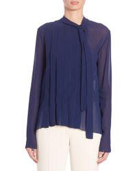 Nina Ricci   Pleated Tie-front Silk Blouse   Lyst