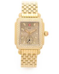 Michele Watches - Deco 16 Diamond, Mother-of-pearl & 18k Goldplated Stainless Steel Bracelet Watch - Lyst