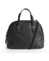 Gucci Black Leather Ssima Top Handle Bag - Lyst