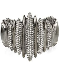 River Island Silver Tone Diamante Encrusted Cuff Bracelet - Lyst