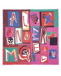 Alexander McQueen Letter Logo Print Modal-Silk Scarf - Lyst