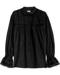 Sonia Rykiel Cotton Blouse With Cut Out Inserts - Lyst