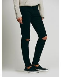 Free People Black Destroyed Skinny - Lyst