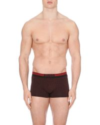 Hugo Boss Geo-print Stretch-cotton Trunks - Lyst