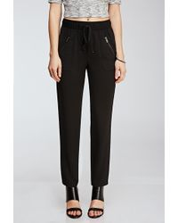 Forever 21 Zippered Drawstring Pants - Lyst
