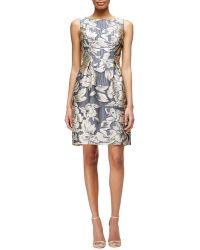 Lela Rose Metallic Floral Jacquard Dress - Lyst