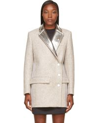 Paco Rabanne Grey Wool and Silver Foil Coat - Lyst
